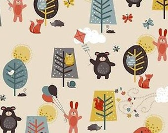 Fat Quarter Windy Day Bears Rabbits Beige 100% Cotton Quilting Fabric Makower