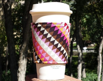FREE SHIPPING UPGRADE with minimum -  Fabric coffee cozy / cup holder / coffee sleeve  -- Vertigo