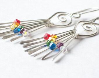 Rainbow Crystal Earrings - Long Silver Earrings - Goddess Earrings - Crystal Drop Earrings - Interchangeable - Sterling Silver Drop Earrings