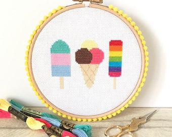 Modern Cross Stitch Kit For Beginners - Ice Cream - Craft Gift
