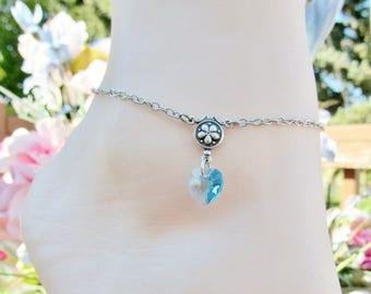 Crystal Heart Anklet Women's Anklet Chain Ankle Bracelet Aqua Swarovski Heart