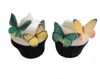 24 Edible Butterflies - 24 Green and Yellow  - Cake Topper - Butterfly Cake - Cupcake Decoration
