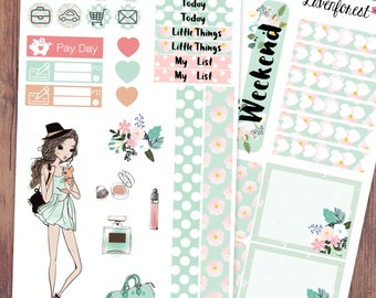 daisy happy planner stickers/weekly kit stickers/planner girl stickers/makeup stickers/fashion girl stickers/EC vertical kit/foral/ MK003
