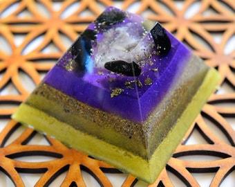 Orgone Pyramid, Orgone Energy Device, Gemstones, Resin Art, Quartz Crystal, Black Tourmaline, FREE UK Shipping, Worldwide shipping!