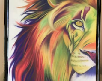 Rainbow Lion Print, A4 Print, Digital Art, Lion, Animal, Gift, For Him, For Her