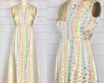Vintage 1960s Pastel Brocade Satin Maxi Dress / Rose Print / Handmade / Pink & Blue