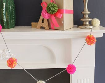 Large Wool Pom Pom Garland Pink and White