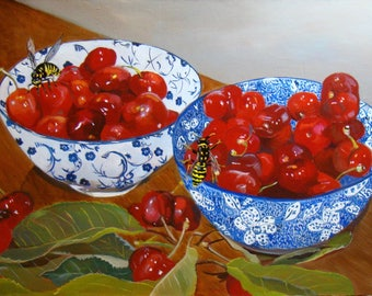 Cherries bowls and wasps