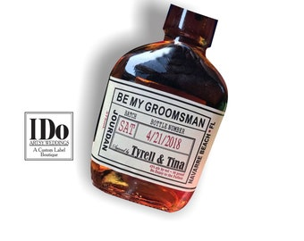 Liquor Flask Labels - Made to fit any bottle - Groomsman Liquor Bottle Labels - Craft Liquor Bottle Labels - Be My Best Man - Wedding Labels