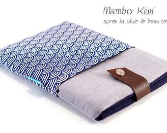Housse tablette tissu japonais, étui samsung galaxy tab, housse iPad Air, étui iPad Pro, pochette Asus zenpad, bleu marine, cadeau homme