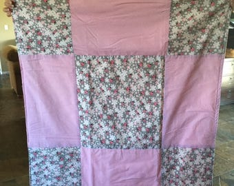 ladybug and flowers baby quilt