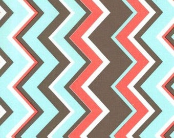 Chevy in Coral, Coral Brown and Aqua Chevron Fabric