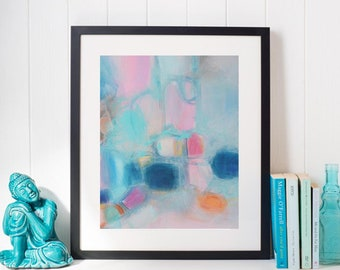Turquoise Pink teal blue soft pastels Modern giclee,Turquoise home accessories,teal blue pink home decor,nursery art,soft baby room colors