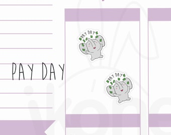 Peanut the Elephant - Pay Day Planner Stickers, Cute elephant Planner Stickers