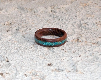 Recycled mesquite with crushed turquoise or malachite inlay wood ring