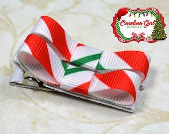 Candy Cane Striped Hair Clips Basic Tuxedo Clips Alligator Non Slip Barrettes for Babies Toddler Girl Set of 2