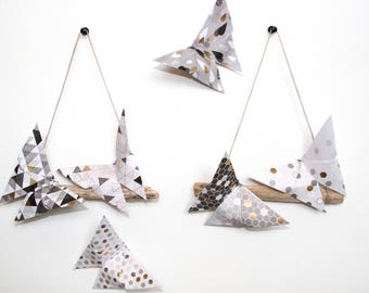 Celebrations Origami Butterflies driftwood decoration mobile suspension white gold decor twin pair wedding party candy bar