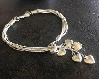 "Multi Strand Sterling Silver Heart Layered Bracelet 8"" inches"