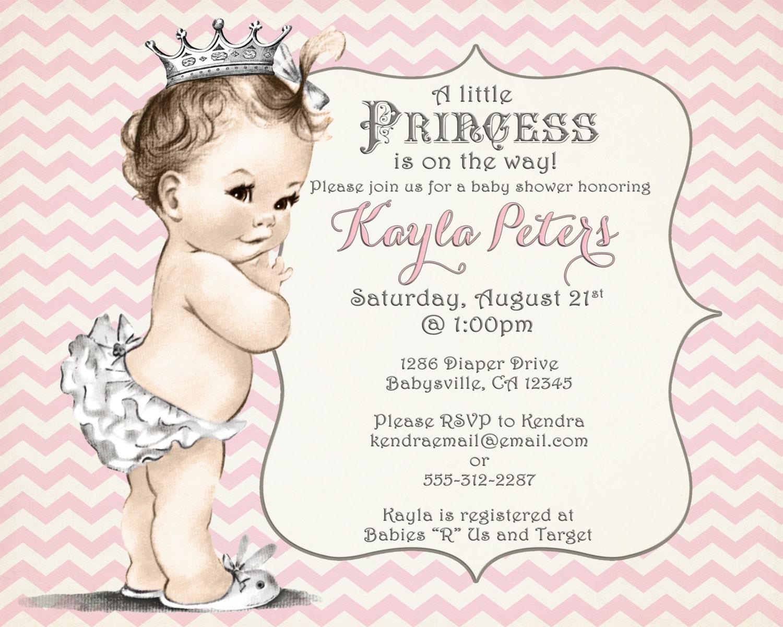 Girl Baby Shower Invitation Chevron Princess For Girl Pink