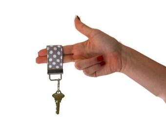Grey and White Dot Keychain