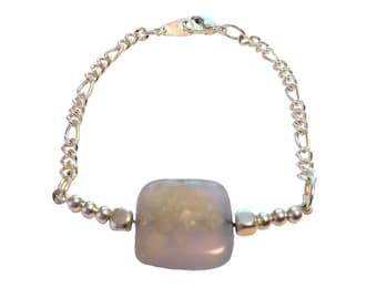 Accent semi precious stone with chain bracelet