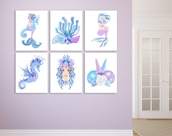 Purple Mermaid Decor, Mermaid Girls Room Decor, Mermaid Gifts for Girls