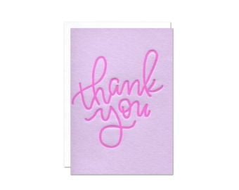 Mini Thank You Enclosure Card / Letterpress Calligraphy Purple Ink on Lilac Paper / Blank Inside