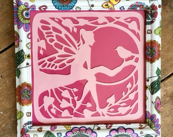 Papercut, Paper Cut, Custom Frame, Decoupaged Photo Frame, Girls Decor, Girls Bedroom Decor, Pink, Pink Card, Fairy, Fairy Frame
