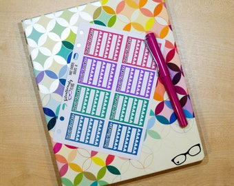 Bright Habit Tracker Sticker - Keep Track of 3 Habits, Planner Stickers, Filofax, Kikki-K, Erin Condren, Happy Planner, UK