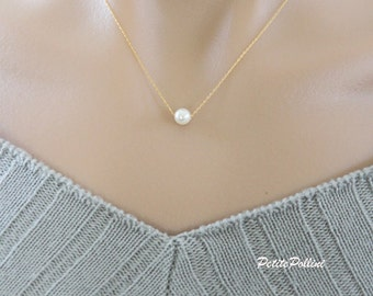 Pearl Necklace in Gold/ Silver. Minimalist Necklace. Simple Jewelry. Understated Elegance. Timeless. Bridesmaid Gift. (PNL- 158)
