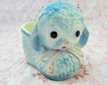 Vintage Ceramic Blue Lamb Baby Planter Relpo 7132