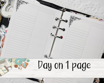 Daily Planner Insert - Day on 1 Page Insert - Printed Planner Insert - Planner Insert - Ringed Planner Refill