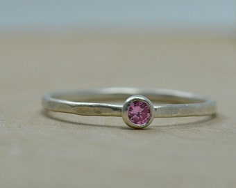 Birthstone Ring in Sterling Silver Stacking Ring - Tiny Stack Gemstone Ring with Hammered Textured Silver Band