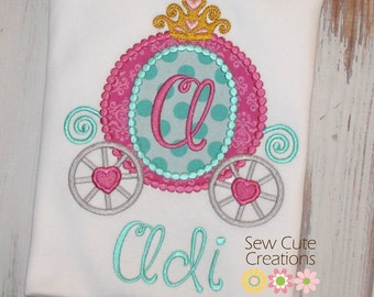 Princess Shirt, Princess Carriage Shirt, Princess Birthday Shirt, Girl Birthday shirt, Cinderella Shirt, Princess Outfit, sew cute creations