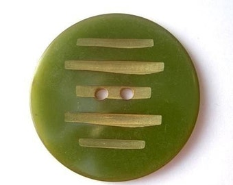 Antique bakelite vintage button, collectibles, olive green color, tested positive for bakelite, carved, large, 34mm