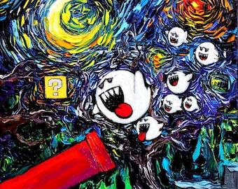 Video Game Art - retro gaming Starry Night Ghosts Gamer print van Gogh Never Saw Ghosts by Aja 8x8 10x10 12x12 20x20 24x24 choose size