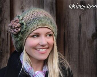 Crochet Hat Pattern: 'Raspberry Beret', Crochet Beret, Crochet Flower, Winter Fashion