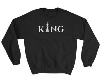 King Sweatshirt // Hubby Sweater // Gift for Him Sweatshirt // King of Chess Sweatshirt