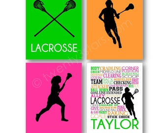 Girl's Lacrosse Art Prints, Custom Lacrosse Art, Lacrosse Wall Art, Lacrosse Gift, Personalized Lacrosse Canvas, Womens Lacrosse Posters