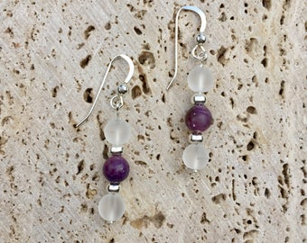 Sterling Silver Earrings with Lepidolite and Quartz