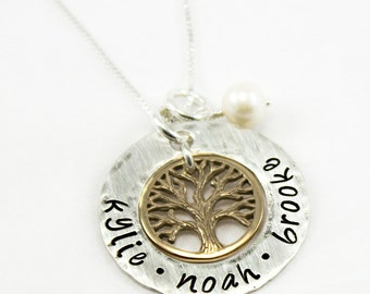 Family Tree Necklace - Silver and Gold Color Name Necklace - Hand Stamped Tree Jewelry - Tag You're It Jewelry on Etsy - Necklace for Mom