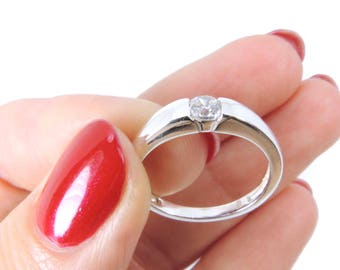 Sterling Silver 925 Solitaire Bridal Engagement Promise Ring Single Round Diamond Quality Zirconia CZ Crystal, Choose your Ring Size (TARV)