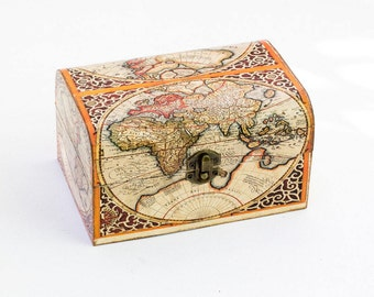 Anniversary gift  Memory Box Map of the World Red Decoupage Box Gold Orange Treasure Box Decorative Box Jewelry box Keepsake box Wooden Box