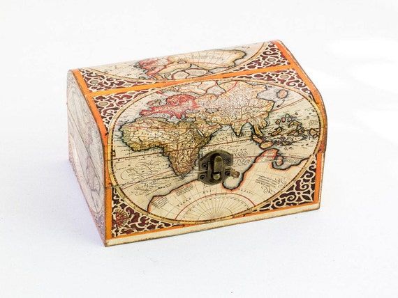 Anniversary gift memory box map of the world red decoupage like this item gumiabroncs Image collections
