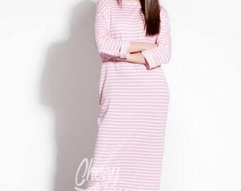 Pink dress/ Striped dress/ Long Dress/ Casual dress/ Long sleeve dress/ Day dress/ Column dress/ Plus size dress/ Summer Dress/ 016.194