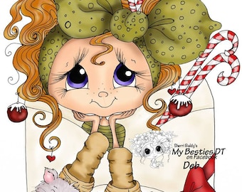 INSTANT DOWNLOAD Digital Digi Stamps Big Eye Big Head Dolls NEW My Besties img728 Christmas Love Letters Bestie By Sherri Baldy