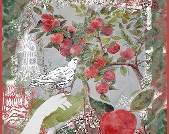 Twill Silk Luxury Scarf Apple Dove