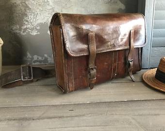 French Leather Work Bag, Satchel Briefcase Telegraph La Poste Postal, Chestnut Brown Messenger