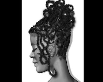 "Black Art Black Woman Art African American Art ""Eve"" print by African American Artist Eric Austin"