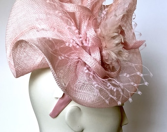 Kentucky Derby Pink Fascinator Pink Straw Women Hat Pink Wedding Hat Easter Pink Church Hat